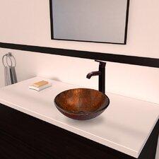 Kenyan Twilight Glass Vessel Bathroom Sink and Seville Vessel Faucet with