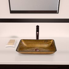 Rectangular Copper Glass Vessel Bathroom Sink and Seville Vessel Faucet with