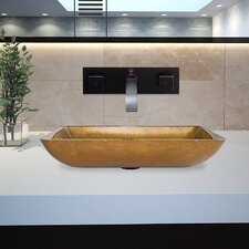 Rectangular Glass Vessel Bathroom Sink with Titus Wall Mount Faucet