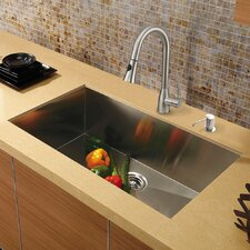 "Platinum 30"" x 19"" Undermount Stainless Steel Kitchen Sink with Faucet"