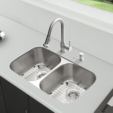 32 inch Undermount 50/50 Double Bowl 18 Gauge Stainless Steel Kitchen Sink with Harrison Stainless Steel Faucet, Two Grids, Two Strainers and Soap Dispenser