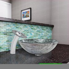 Titanium Glass Vessel Bathroom Sink and Waterfall Faucet with Pop Up