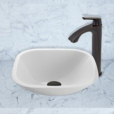 Square Shaped White Phoenix Stone Vessel Sink and Linus Vessel Faucet with Pop Up