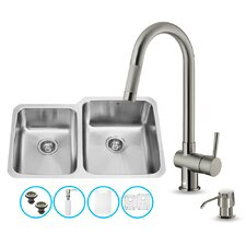 32 inch Undermount 60/40 Double Bowl 18 Gauge Stainless Steel Kitchen Sink with Gramercy Stainless Steel Faucet, Two Grids, Two Strainers and Soap Dispenser