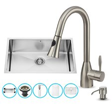 30 inch Undermount Single Bowl 16 Gauge Stainless Steel Kitchen Sink with Aylesbury Stainless Steel Faucet, Grid, Strainer, Colander and Soap Dispenser