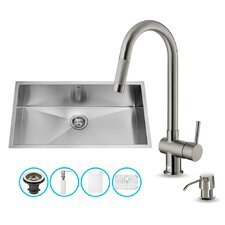 30 inch Undermount Single Bowl 16 Gauge Stainless Steel Kitchen Sink with Gramercy Stainless Steel Faucet, Grid, Strainer and Soap Dispenser
