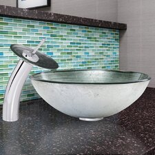 Simply Silver Glass Vessel Bathroom Sink and Waterfall Faucet with