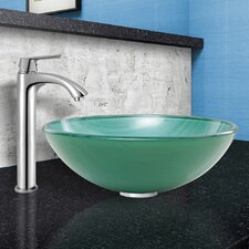 Whispering Wind Glass Vessel Bathroom Sink and Linus Vessel Faucet with Pop Up