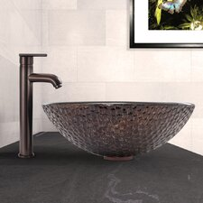 Copper Shield Glass Vessel Bathroom Sink and Seville Vessel Faucet with
