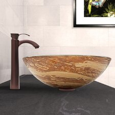 Mocha Swirl Glass Vessel Bathroom Sink and Otis Vessel Faucet with