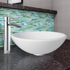 White Phoenix Stone Vessel Sink and Shadow Vessel Faucet with Pop Up