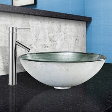 Simply Silver Glass Vessel Bathroom Sink and Dior Vessel Faucet with Pop Up