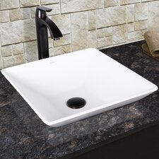 Matira Matte Stone Vessel Bathroom Sink and Linus Vessel Faucet with Pop Up