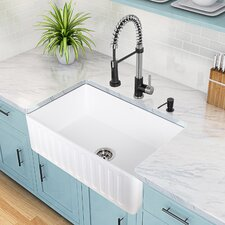 30'' x 18'' Matte Stone Farmhouse Sink