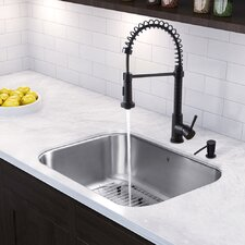 30 inch Undermount Single Bowl 18 Gauge Stainless Steel Kitchen Sink with Edison Matte Black Faucet, Grid, Strainer and Soap Dispenser