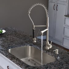 Two Handle Single Hole Pot Filler Kitchen Faucet with Pull-Down Spray
