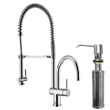 Two Handle Widespread Pull-Out Spray Bar Faucet with Soap Dispenser