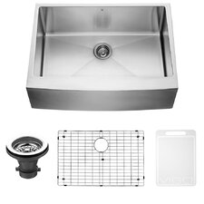 30 inch Farmhouse Apron Single Bowl 16 Gauge Stainless Steel Kitchen Sink with Grid and Strainer