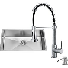 32 inch Undermount Single Bowl 16 Gauge Stainless Steel Kitchen Sink with Edison Chrome Faucet, Grid, Strainer, Colander and Soap Dispenser