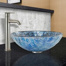 Playa Glass Vessel Bathroom Sink and Seville Vessel Faucet with