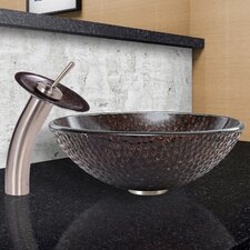 Copper Shield Glass Vessel Bathroom Sink and Waterfall Faucet with Pop Up