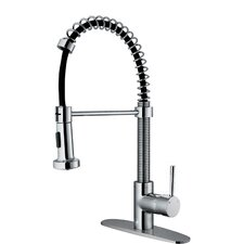 Edison Single Handle Pull-Down Spray Kitchen Faucet with Deck Plate