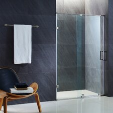 Ryland 62 to 64-in. Frameless Sliding Shower Door with .375-in. Clear Glass and Chrome Hardware