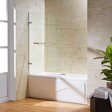 Orion 34-in. Curved Bathtub Door with .3125-in. Clear Glass and Stainless Steel Hardware