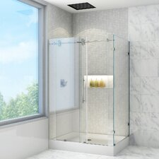 Winslow 36 x 48-in. Frameless Sliding Shower Enclosure with .375-in. Clear Glass and Chrome Hardware
