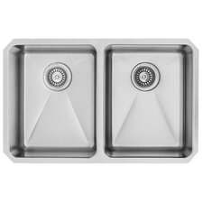 29 inch Undermount 50/50 Double Bowl 16 Gauge Stainless Steel Kitchen Sink with Two Grids and Two Strainers
