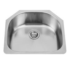 24 inch Undermount Single Bowl 18 Gauge Stainless Steel Kitchen Sink
