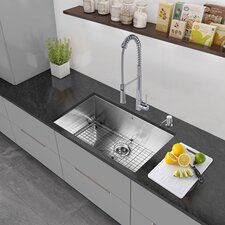30 inch Undermount Single Bowl 16 Gauge Stainless Steel Kitchen Sink with Grid and Strainer