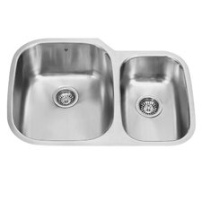 30 inch Undermount 70/30 Double Bowl 18 Gauge Stainless Steel Kitchen Sink