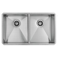 32 inch Undermount 50/50 Double Bowl 16 Gauge Stainless Steel Kitchen Sink