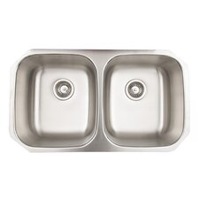 32 inch Undermount 50/50 Double Bowl 18 Gauge Stainless Steel Kitchen Sink