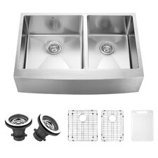 33 inch Farmhouse Apron 60/40 Double Bowl 16 Gauge Stainless Steel Kitchen Sink