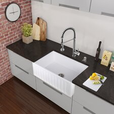 "33"" x 18"" Farmhouse Apron Single Bowl Matte Stone Kitchen Sink with Faucet"