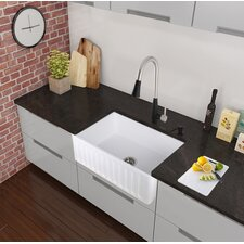 "30"" x 18"" Farmhouse Apron Single Bowl Matte Stone Kitchen Sink with Faucet"