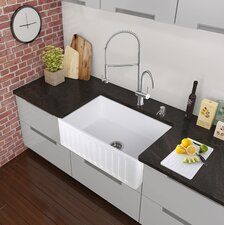 "36"" x 18"" Farmhouse Apron Single Bowl Matte Stone Kitchen Sink with Faucet"