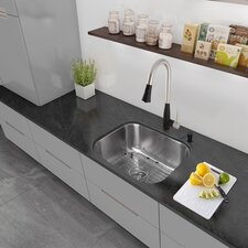 """23"""" x 17.75"""" Undermount Single Bowl 18 Gauge Stainless Steel Kitchen Sink with Faucet"""