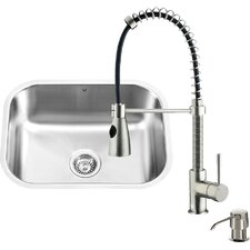 23 inch Undermount Single Bowl 18 Gauge Stainless Steel Kitchen Sink with Brant Stainless Steel Faucet, Grid, Strainer and Soap Dispenser