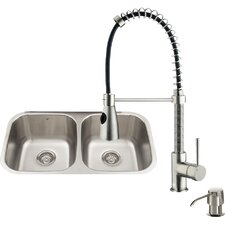 32 inch Undermount 50/50 Double Bowl 18 Gauge Stainless Steel Kitchen Sink with Brant Stainless Steel Faucet, Two Grids, Two Strainers and Soap Dispenser