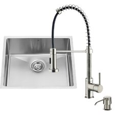 23 inch Undermount Single Bowl 16 Gauge Stainless Steel Kitchen Sink with Edison Chrome Faucet, Grid, Strainer and Soap Dispenser