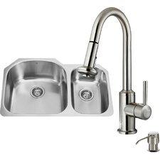 31 inch Undermount 70/30 Double Bowl 18 Gauge Stainless Steel Kitchen Sink with Astor Stainless Steel Faucet, Two Grids, Two Strainers and Soap Dispenser
