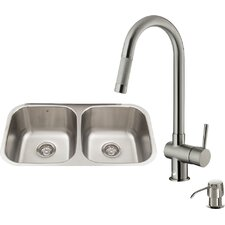 32 inch Undermount 50/50 Double Bowl 18 Gauge Stainless Steel Kitchen Sink with Gramercy Stainless Steel Faucet, Two Grids, Two Strainers and Soap Dispenser