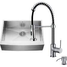 30 inch Farmhouse Apron Single Bowl 16 Gauge Stainless Steel Kitchen Sink with Edison Chrome Faucet, Grid, Strainer and Soap Dispenser