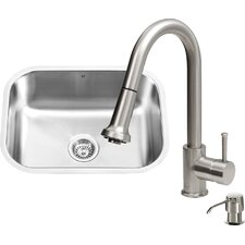 23 inch Undermount Single Bowl 18 Gauge Stainless Steel Kitchen Sink with Harrison Stainless Steel Faucet, Grid, Strainer and Soap Dispenser