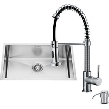 30 inch Undermount Single Bowl 16 Gauge Stainless Steel Kitchen Sink with Edison Chrome Faucet, Grid, Strainer and Soap Dispenser