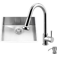 23 inch Undermount Single Bowl 16 Gauge Stainless Steel Kitchen Sink with Harrison Chrome Faucet, Grid, Strainer and Soap Dispenser