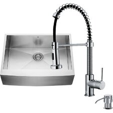 36 inch Farmhouse Apron Single Bowl 16 Gauge Stainless Steel Kitchen Sink with Edison Chrome Faucet, Grid, Strainer and Soap Dispenser